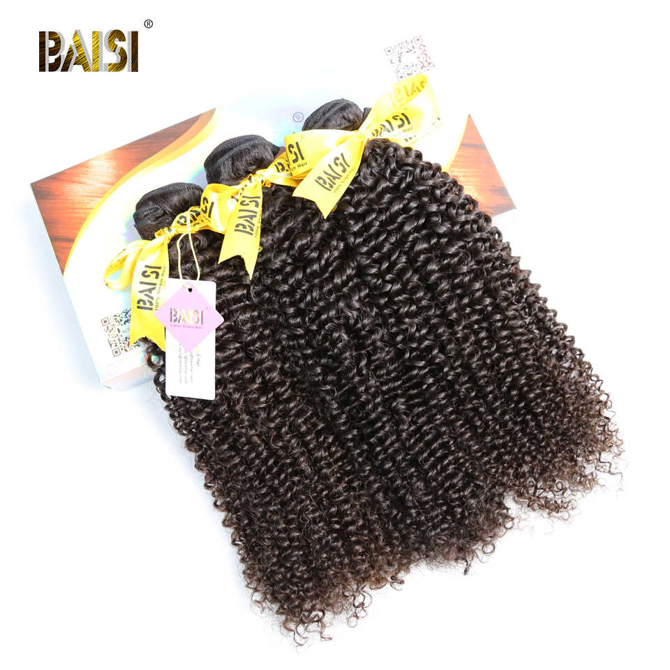 BAISI Hair Unprocessed 10A Indian Curly Raw Virgin Hair Weave 3 Bundles 100% Human Hair