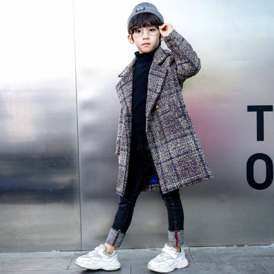 Fashion Long Boys Jackets <font><b>Children</b></font> Autumn <font><b>Winter</b></font> <font><b>Clothes</b></font> Boy Coats Warm Wool Coats <font><b>For</b></font> Kids Boys Outerwear 3 4 6 <font><b>8</b></font> 10 12 <font><b>Year</b></font> image