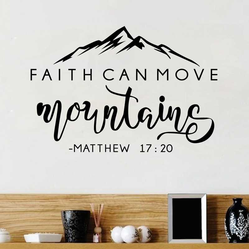 Faith Can Move Mountains Bible Verse Quote Decals Matthew 17 20 Vinyl Wall Sticker Christian Wall Decor For Home Car Laptop Aliexpress