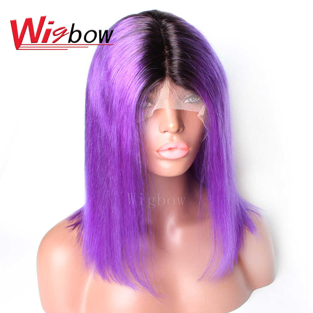 Bob Brazilian 13x6 Lace Front Wig 1B Purple Short Bob Straight Wigs Lace Wig Human Hair Wigs 150% Density For Women Wigbow Hair