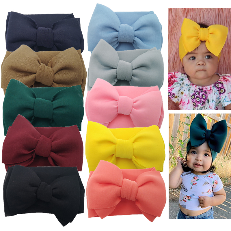 Baby Girls Puff Bows Turban Headband Hair Accessories Fancy Toddler Gifts Hair Band Elastic Knot Bows Headwraps Headband Baby