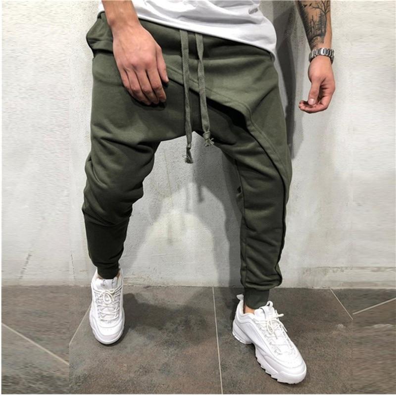 Men Pencil Trouser Men Asymetric Layered Jogger Pants Hip Hop Streetwear Jogger Pants Casual Drawstring Close Bottom Pants