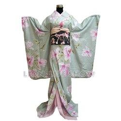 Женский японский крейсер цветочный длинный кимоно фурисодэ косплей костюм наряд