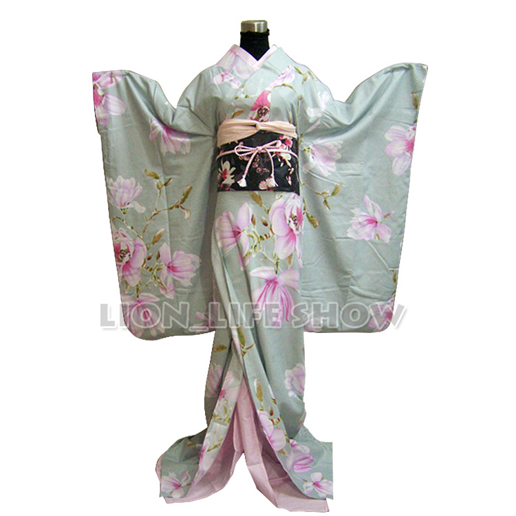 Women Japanese Light  Floral Long Furisode Kimono Cosplay Costume Outfit