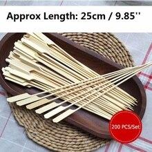 Бамбуковые палочки для шашлыков, 200 шт., палочки для шашлыка, барбекю, фруктовые зубочистки, вечерние принадлежности для ресторанов, инструменты для улицы 25 см x 3 мм