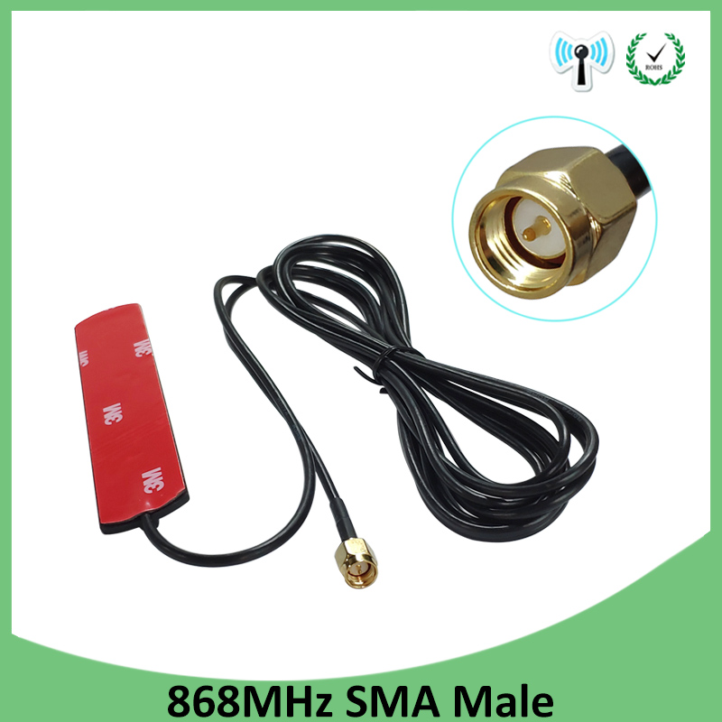 GSM Antenna 868mhz 915mhz glued strip 868m patch antenna SMA-Male connector Aerial 3 meters Cable 868 mhz 915 mhz antena antenne(China)