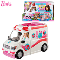 Original Barbie Doctor Ambulance Clinic Car Toy Girl's House Suit Vehicle Big Gift Box First Aid Scene Playset Accessories Toys