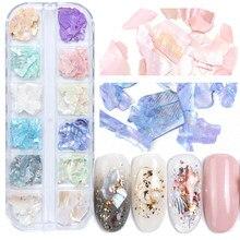 1 caixa de mistura cor natural strass para unhas 3d gradiente quebrado casca fatias unhas decorações da arte do prego glitter flocos sab03