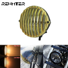 5.3 Motorcycle Retro Front Headlight head Lamp Gold Mesh Metal Grill For Harley Sportster XL 883 1200 48 72 Cruisers Choppers