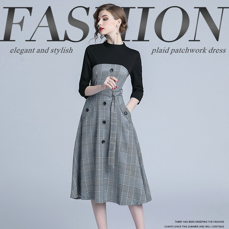 Autumn new women high-end boutique plaid patchwork O-neck  Oiffce Lady slimming elegant dress