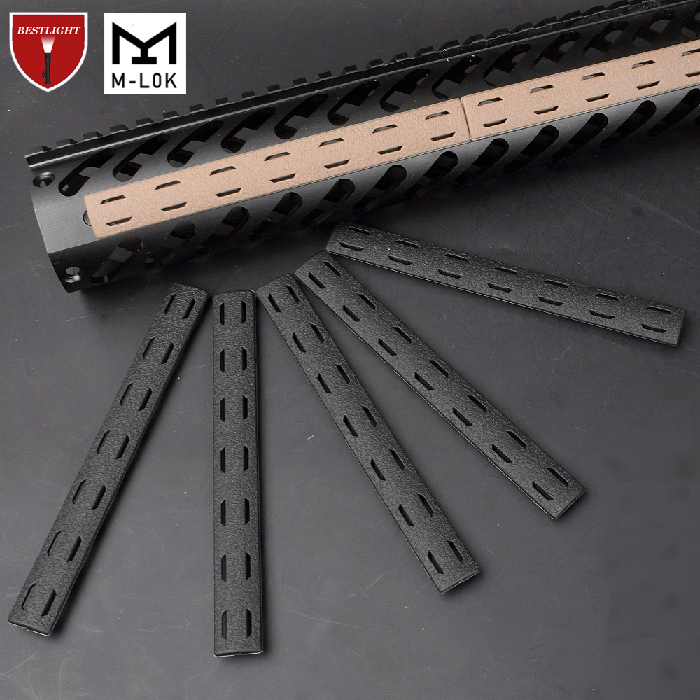 5PCS BCM M Lok Rail Cover Panel Kit For Mlok Handguard Free Float Handguard Airsoft 140*16mm(China)