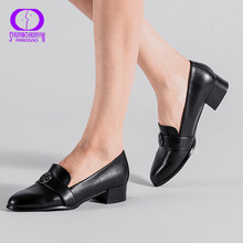 AIMEIGAO Medium Heels Classic Shoes Women Pumps PU Leather Square Heel Shoes Black Thick Heels Spring Autumn Women Shoes(China)