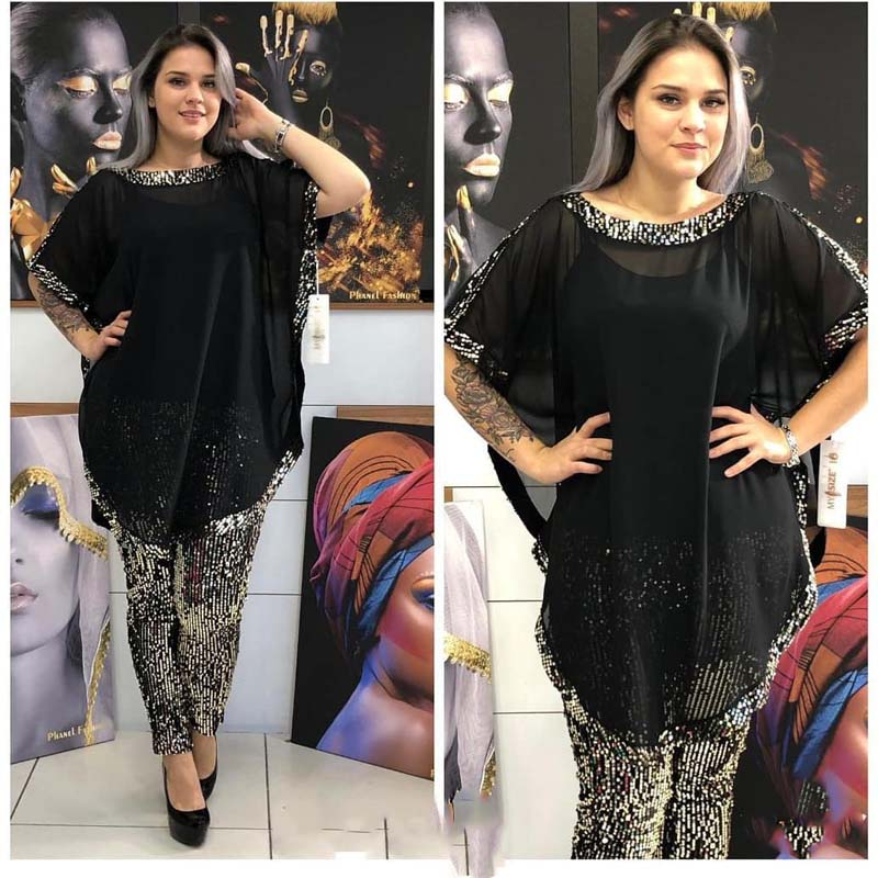 2020 African Clothes Chiffon Two Piece Set African Dress For Women Dashiki Casual O-Neck Bat Sleeve Top&Sequins Pencil Pants Set