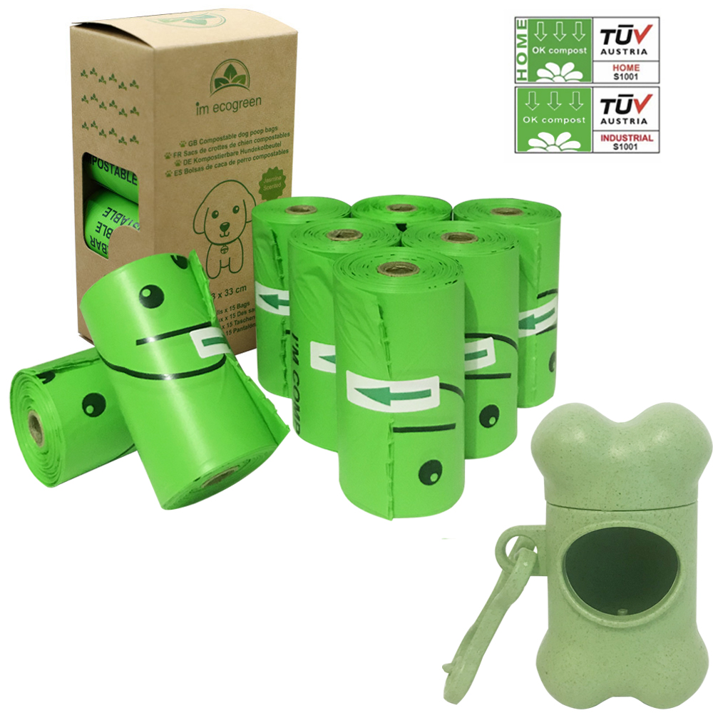 Compostable Dog Poo Bags EN 13432 120 Bags Biodegradable Cat Waste Bag Starch Dog Waste Bags With Vegetable Biobase Dispenser