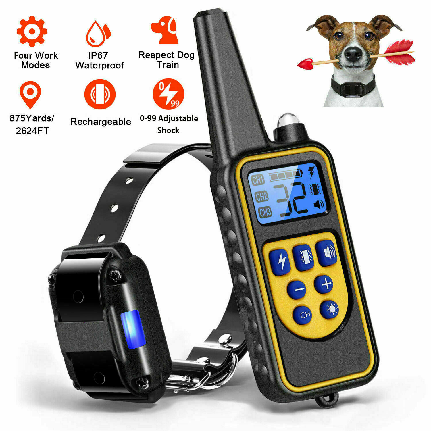 LED Dog Shock Training Collar With Remote Pet Anti Bark Rechargeable Remote Control Waterproof IP67 875 Yards