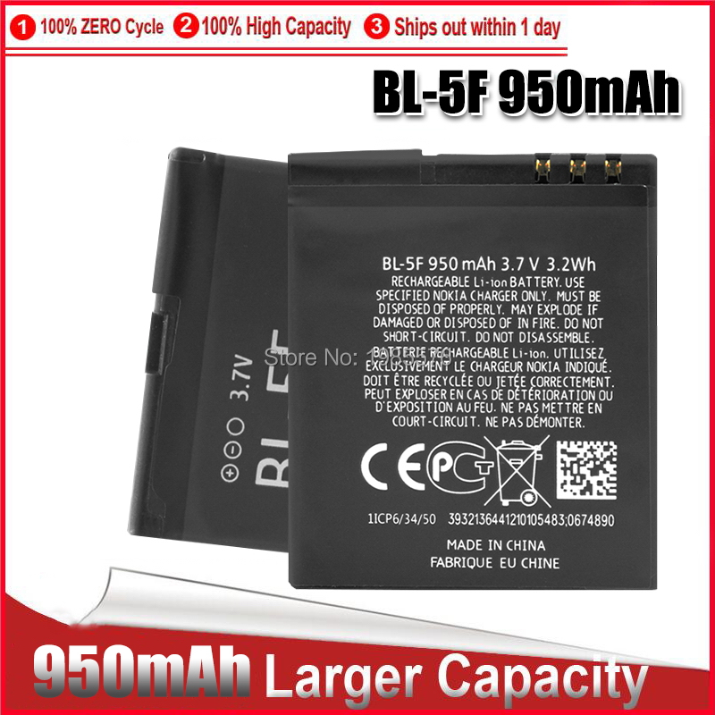 1-5PCS BL-5F For Nokia N96 N95 BL-5F <font><b>Battery</b></font> <font><b>3.7V</b></font> Replacement Mobile Cell Phone <font><b>Batteries</b></font> Lithium BL 5F BL5F VI238 P69 image
