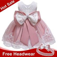 Платье для маленьких девочек для новорожденных детей кружевной платье принцессы для маленьких девочек, платье для первого дня рождения Рождественский костюм вечерние платья для малышей
