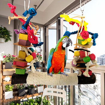 Parrot Chewing Bite Hanging Cage Pet Bird Parrot Chew Toy Bird Perch Leather Colorful Wood Building Block Cotton Rope Big Swing 4