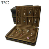 High Quality Jewelry Storage Box Zipper Organizer Necklace Pendant Holder Ring Leather Velvet Case Business Travel