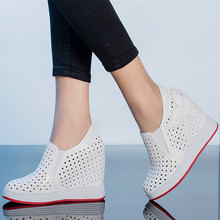Summer Fashion Sneakers Women Genuine Leather Wedges High Heel Ankle Boots Female Round Toe Platform Pumps Shoes Punk Trainers outdoor creepers women cow leather wedges high heel party pumps punk goth tennis shoes round toe platform oxfords trainers shoes