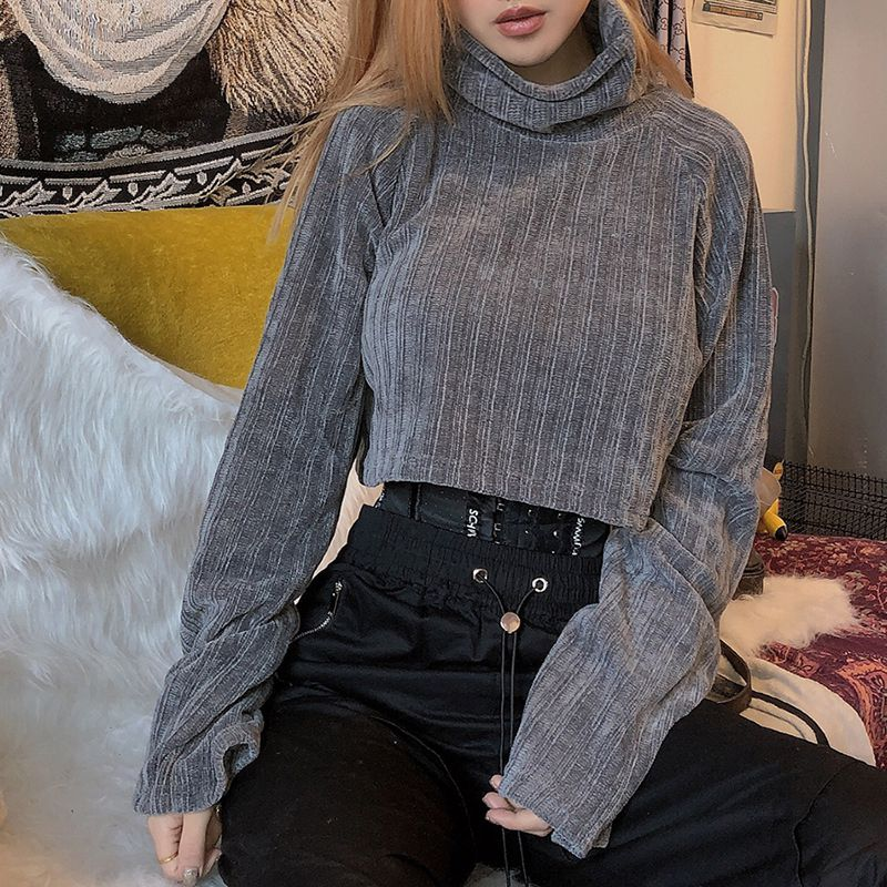 Women Autumn Sweater 2020 New Winter Fashion Solid Color High-collar Tops Casual Long Sleeves Wild Loose Short Sweater Top