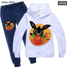 Casual wear meninos e meninas camisola + calças casuais definir outono moda bing coelhos crianças esportes hoodie crianças roupas de inverno