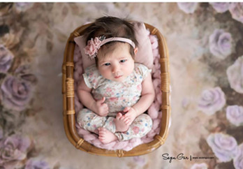 Newborn Photography Prop Vintage Woven Rattan Baby Picture Shot Container Frame Shooting Studio Props