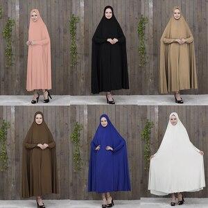 Islam Hijab dress Prayer Clothing Black Kaftan With Hijab Robes islamic clothing abayas for women  gamis muslim wanita black