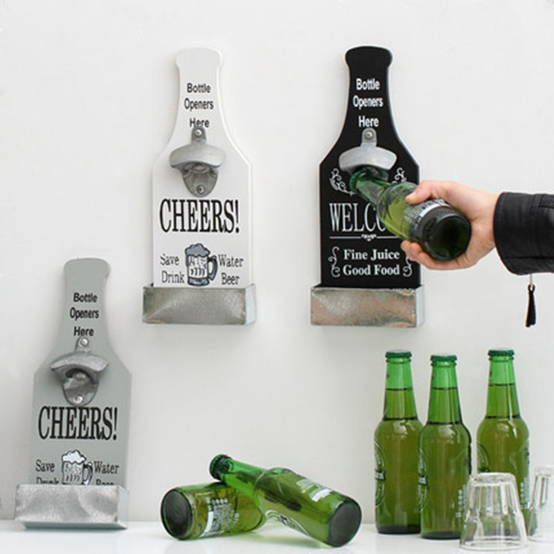 Vintage Beer Opener Wall Hang Bottle Opener Wall Mounted With Storage Box For Bar Club Decorations Home Decor Kitchen Tool