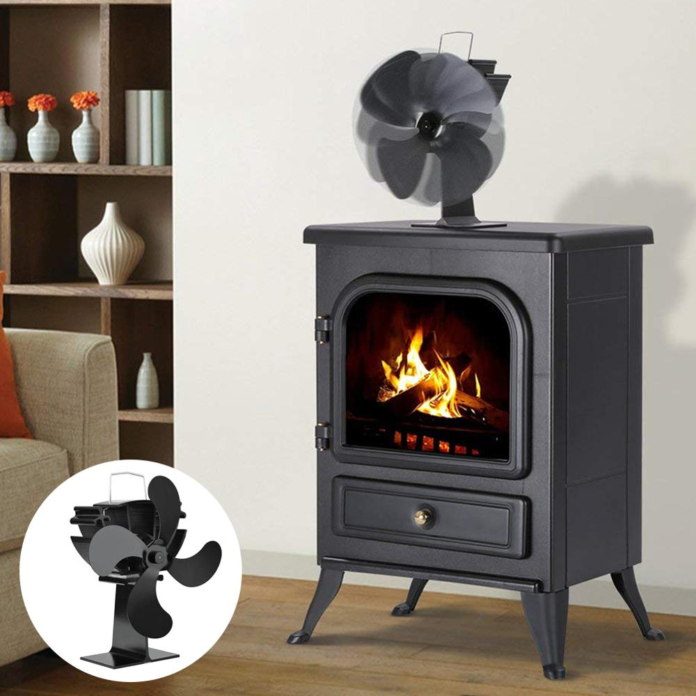 Fireplace Wood Burner With 4-blade Fan Hot Black Eco Ultra-quiet Blower Without Battery Or Power With Temperature Display