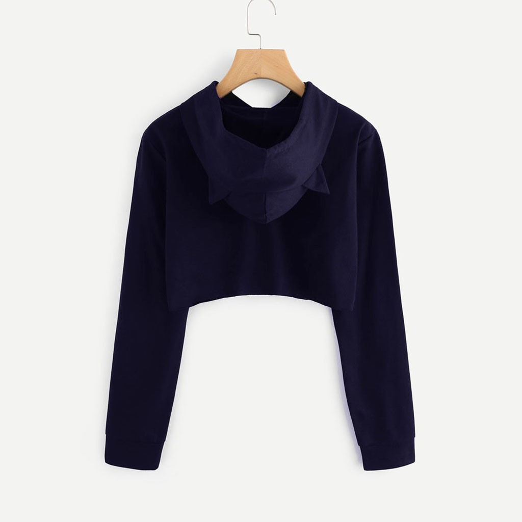 Women's Harajuku Print Sweatshirt Womens Cat Ear Long Sleeve Hoodie Sweatshirt Hooded Pullover Tops Aachoae#T2
