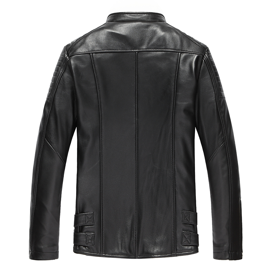 Genuine Jacket Men Real Sheepskin Leather Bomber Jackets Spring Autumn Motocycle Plus Size 19-223 MF612