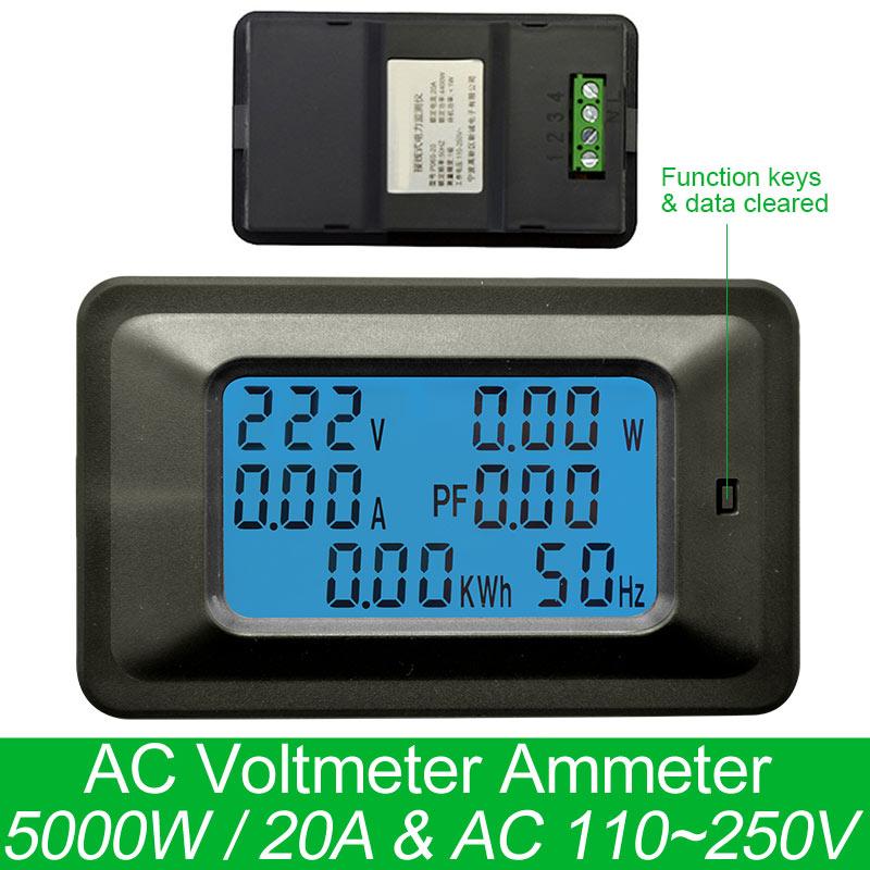 Цифровой измеритель напряжения AC220V 20A, измеритель энергии, ЖК-дисплей, 5 кВт вольтметр мощности, амперметр, измеритель тока, ампер, ватт, тест...