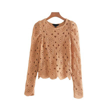 Women Tops Blusas  Hollow Out Long Sleeve Blouse Sweet Knitted Design Solid Stylish Stretchy Basic Chic