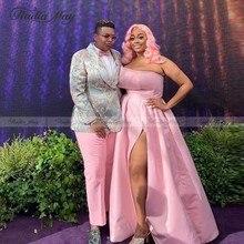 Africana de satén rosa, de talla grande vestido de noche Sexy sin tirantes hendidura vestidos de la alfombra roja 2020 largo Formal Mujer Vestidos Fiesta