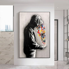 Graffiti Street Art Rainbow in the hands of men Canvas Painting Abstract Posters Wall Art Pictures for Living Room Home Decor