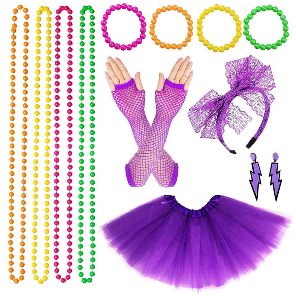 80/'s Fancy Dress Party Prom Tutu Skirt Necklace Leg Warmer Dance Fishnet Gloves