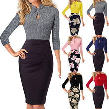 Pencil-Dress Vestidos Bodycon Women's Patchwork Spring Business-Church Knee-Length Autumn