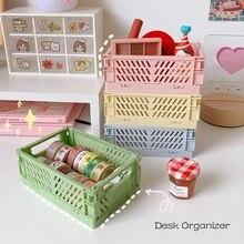 Big Capacity Foldable Plastic Storage Basket Desktop Organizer Fruit Toys Storage Basket Sundries Storage Box Cosmetic Container