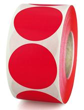 2-inch round color code label 500 permanent sticky stickers per roll for storage/finishing/color coding/art (red)