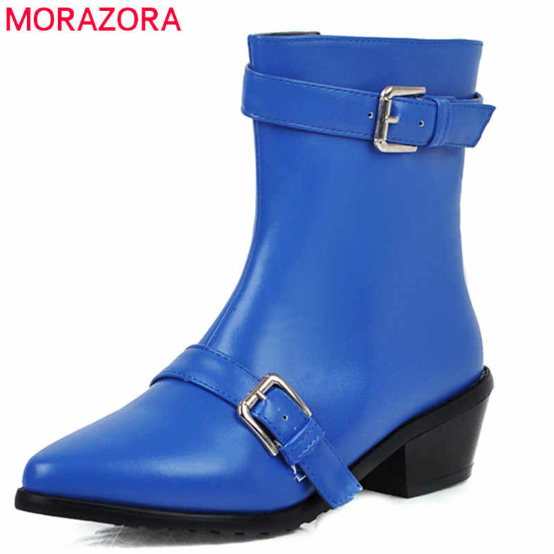 MORAZORA 2020 große größe 43 frauen stiefeletten schnalle zip spitz herbst winter kurze stiefel mode lässig schuhe weibliche