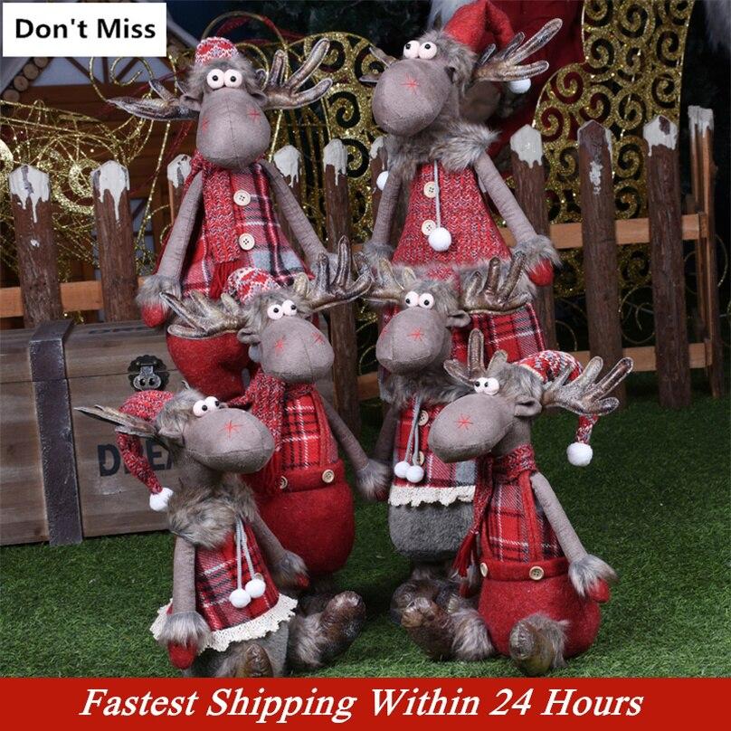 Poupées De noël rétractables renne Natal décorations d'arbre De noël Figurines De noël cadeau De nouvel an Regalos De Navidad pour la maison