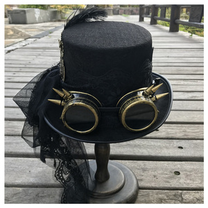 Image 4 - 2019 Fashion Women Handmade Steampunk Top Hat With Gear Glasses and Lace Stage Magic Hat Party Hat Size 57CM Steampunk Hat