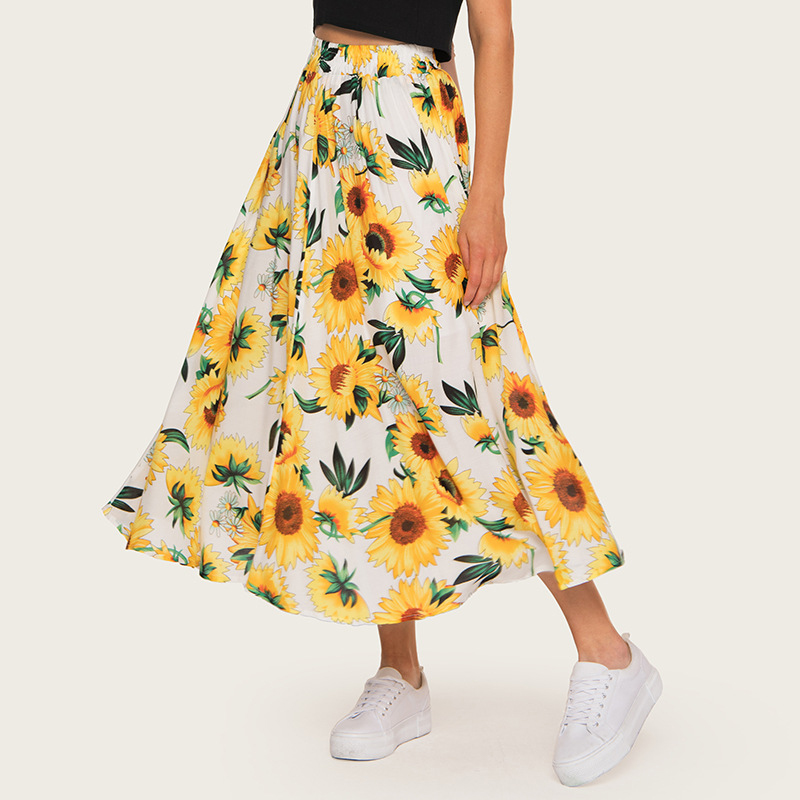 2020 High Waist Women Summer Boho Maxi Skirt Saia Elastic Waist Women A-Line Floral Print Long Skirt Yellow Faldas Jupe Femme