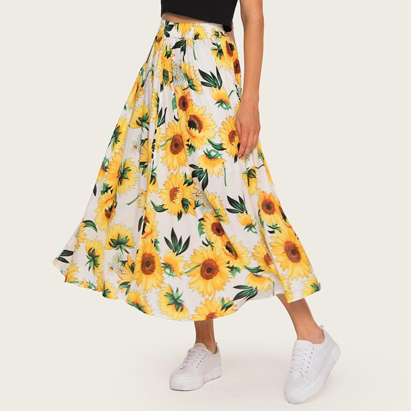 2020 High Waist Women Summer Boho Maxi Skirt Saia Elastic Waist Women A-Line Floral Print Long Skirt Yellow Faldas Jupe Femme