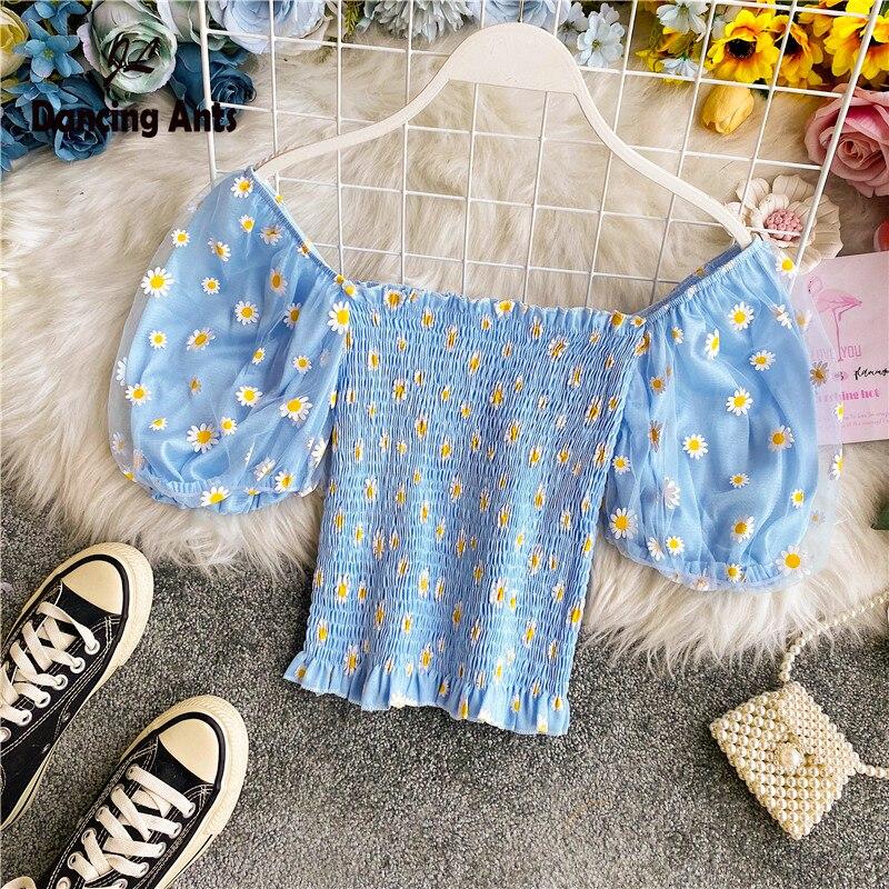 Women Shirts Square Collar Short Sleeve Broken Flower Print Pleated Slim Top 2020 Summer Femme French Retro Ruffles Short Blouse