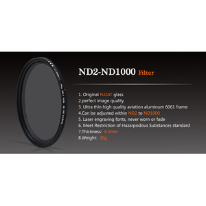 Image 2 - ND2 a ND1000 densidad Fader Variable ND filtro ajustable para canon sony nikon d600 60d 500d 49 52 55 58 62 67 72 77 mm ND400