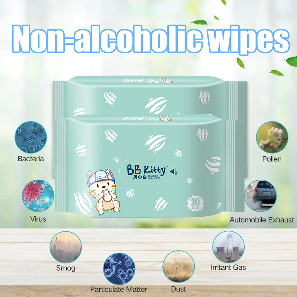 Antibacterial Wet Wipe Tissue Clean Hand Health Care 20 Wipes/Pack Plant Extract Bactericidal Wipes Alcohol Free Cleaning Wet