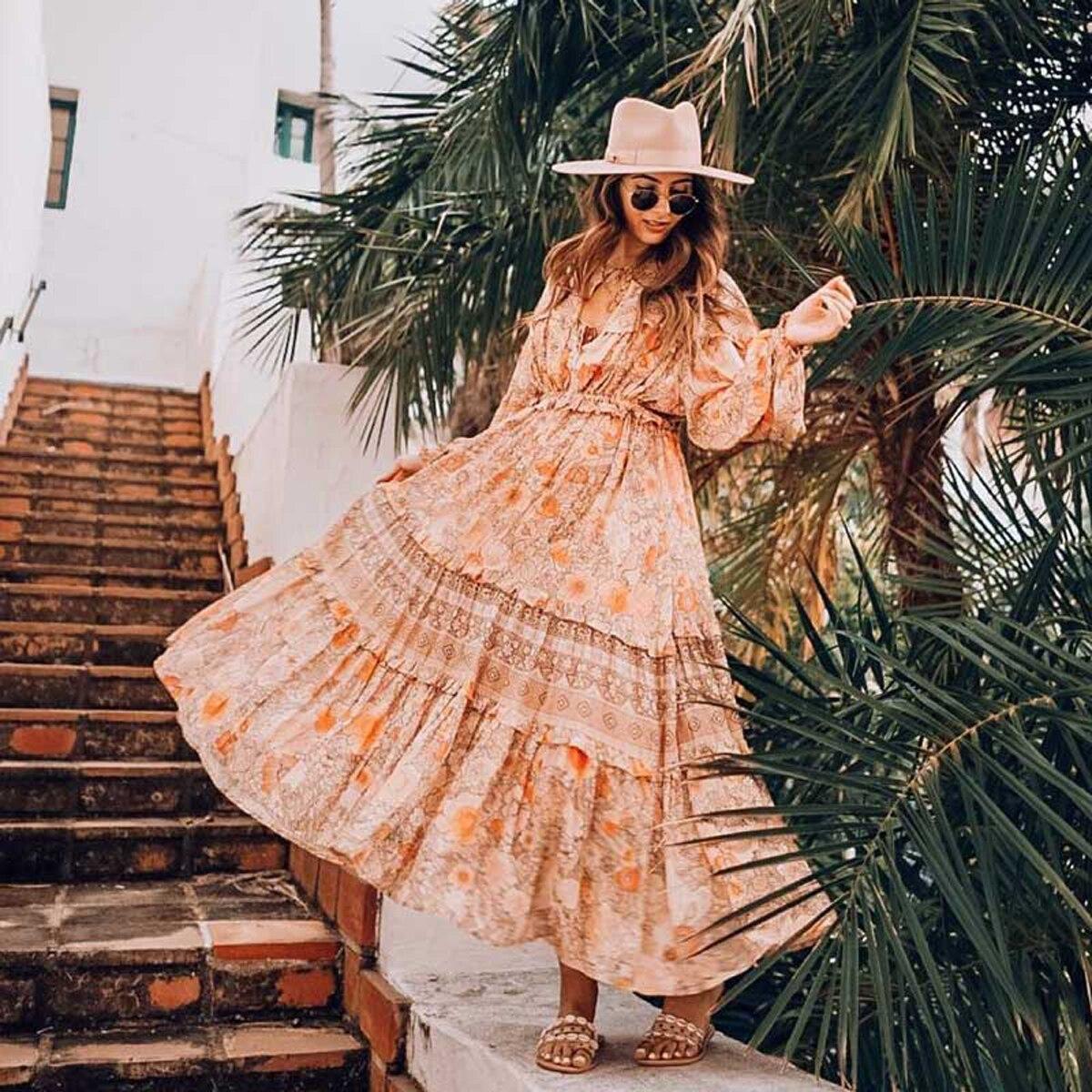 Boho Chic Frill à manches longues femmes robe v-cou Floral imprimé robes gitane 2019 printemps été robe décontracté robes de plage