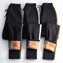 Oumengka inverno cashmere harem calças femininas casual grosso quente pele de cordeiro cashmere preto lado listrado solto plus size S 5XL calçasCalças e capris